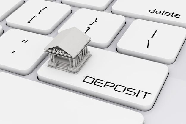 Budynek banku na klawiaturze komputera z wpłatą znak skrajny zbliżenie. renderowanie 3d.