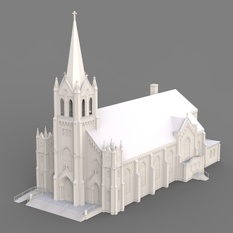 Budynek kościoła katolickiego, widoki z różnych stron. trójwymiarowa biała ilustracja na szarej powierzchni