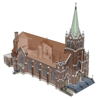 Budynek kościoła katolickiego, widoki z różnych stron. trójwymiarowa ilustracja na białym tle. renderowania 3d.