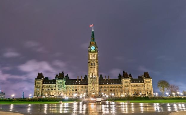 Budynek parlamentu kanadyjskiego na wzgórzu parlamentarnym w ottawie