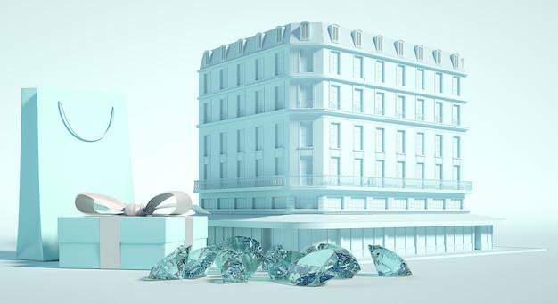 Budynek sklepu jubilerskiego, prezentuję pudełko i torebkę papierową, klejnoty i diamenty. ilustracja 3d