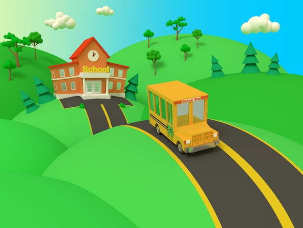 Budynek szkoły i żółty autobus z zielonego lata pięknym krajobrazem. powrót do szkoły. ilustracja stylu wolumetrycznego. renderowania 3d.