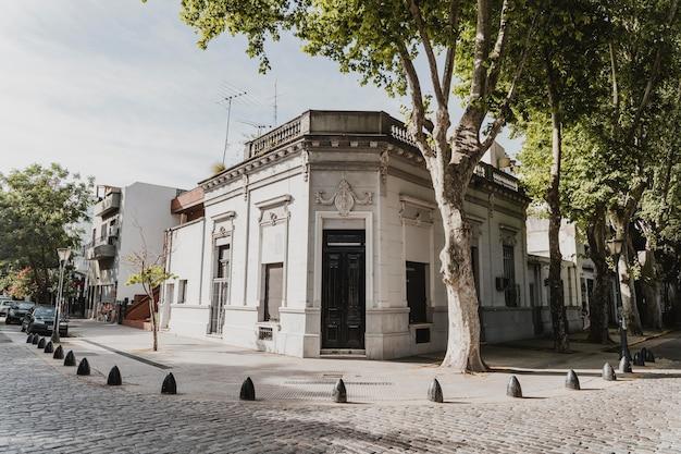 Budynek w mieście z drzewami i ul