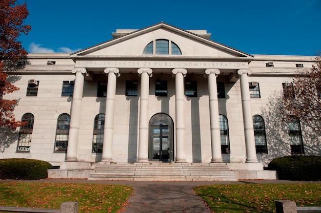 Budynki na kampusie uniwersytet harwarda w bostonie, massachusetts, usa