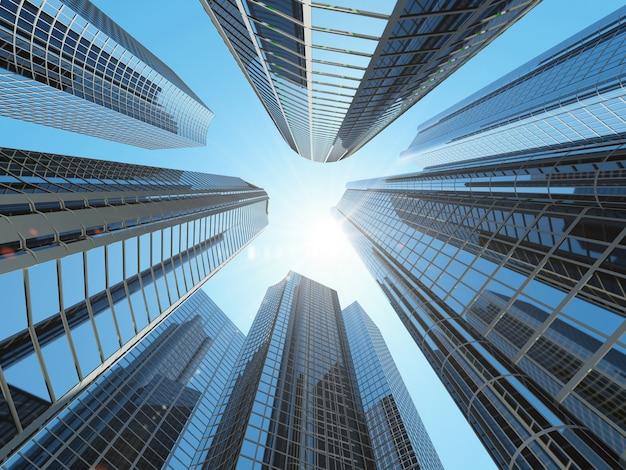 Budynki w dzielnicy śródmiejskiej miasta ze światłem słonecznym