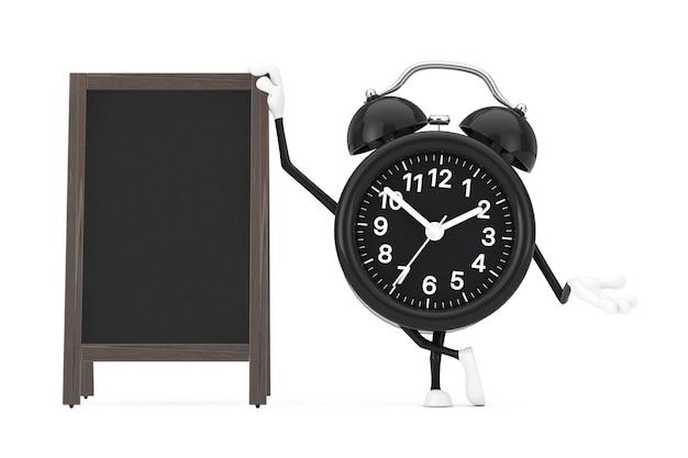 Budzik charakter maskotka z puste drewniane tablice menu odkryty wyświetlacz na białym tle. renderowanie 3d