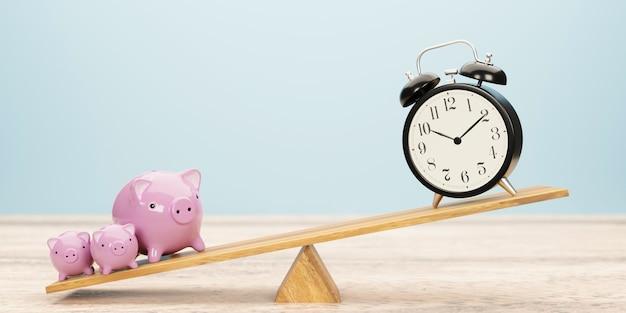 Budzik i skarbonka balansująca na huśtawce. czas to pieniądz. ilustracja 3d