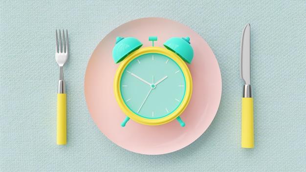 Budzik na różowym pastelowym talerzu.