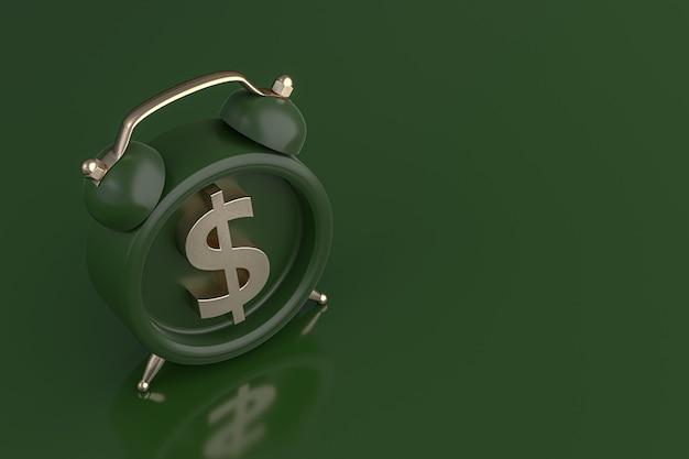 Budzik z ikoną symbolu złotego dolara na zielonym tle. renderowanie 3d