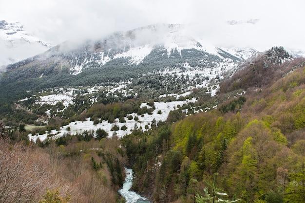 Bujaruelo dolina w parku narodowym ordesa y monte perdido z pewnym śniegiem w górze.