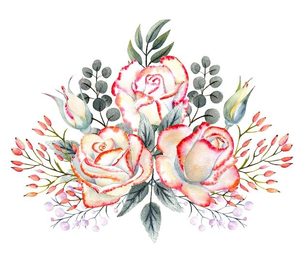 Bukiet białych róż z różowym brzegiem, liście, jagody, ozdobne gałązki