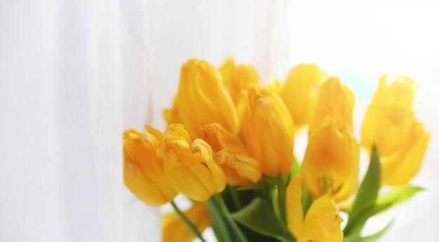 Bukiet czerwonych tulipanów w wazonie na parapecie. prezent na dzień kobiety z kwiatów czerwonych tulipanów. piękne czerwone kwiaty w wazonie przy oknie.