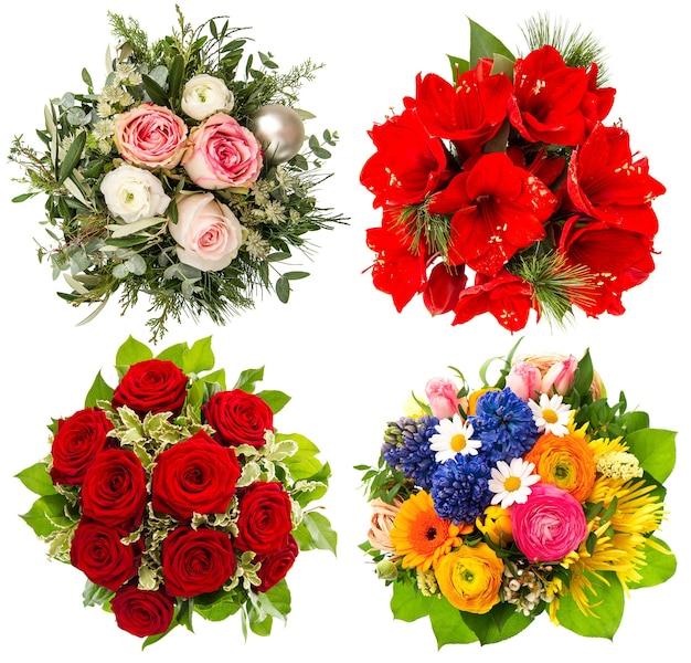 Bukiet czterech kolorowych kwiatów. róże, amarylis, tulipany na białym tle