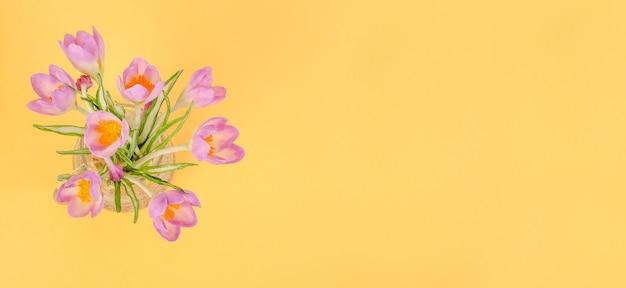 Bukiet delikatnych pierwiosnków bzu na żółtym tle, z kopią miejsca