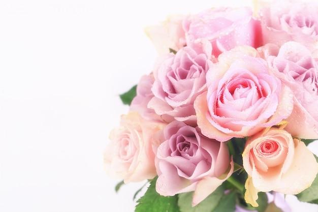 Bukiet delikatnych róż na białym tle