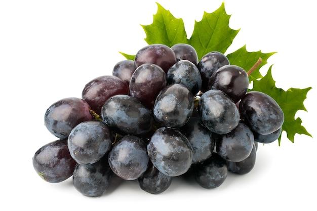 Bukiet dojrzałych niebieskich winogron z liśćmi na białym tle, z bliska. odosobniony