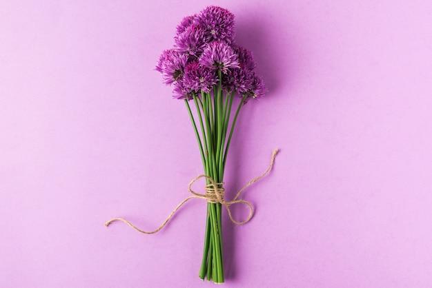 Bukiet fioletowych kwiatów lub kwiaty cebuli na pastelowym fioletu. leżał płasko