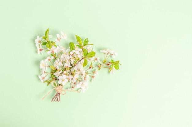 Bukiet gałęzi kwitnącej wiśni na zielonym tle z miejscem na tekst. leżał na płasko, puste na pocztówkę, baner, miejsce na kopię. widok z góry,