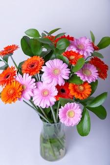 Bukiet gerbery. różowa, pomarańczowa i czerwona gerbera w wazonie. gratulacje, święto, teraźniejszość.