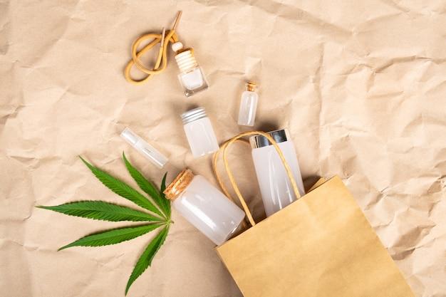 Bukiet kosmetyczny do pielęgnacji skóry wykonany z produktów konopnych.