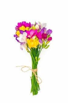 Bukiet kwiatów gałązki frezji na białym tle