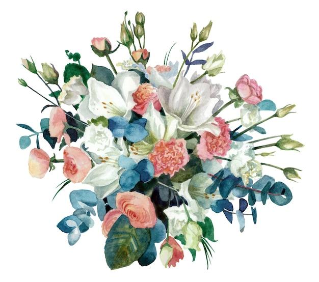 Bukiet kwiatów z wyciętymi z tła amarylisami, jaskrami i eustomą. malarstwo akwarelowe. kolor pastelowy