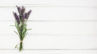 Bukiet lawendowy kwiat na białym drewnianym tle
