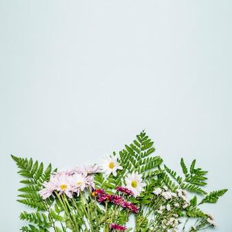 Bukiet liści i kwiatów