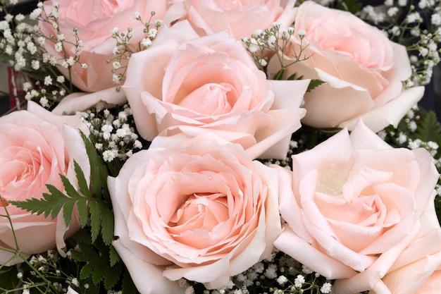 Bukiet pięknych różowych róż na białym tle drewnianych.