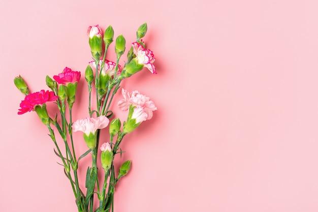 Bukiet różnych różowych kwiatów goździków na różowym tle widok z góry mieszkanie leżał