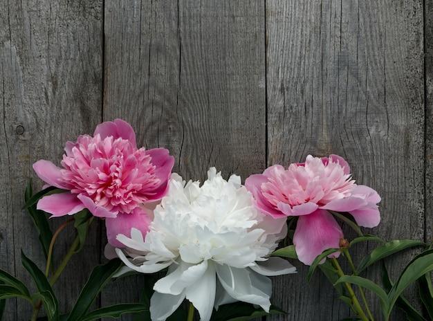 Bukiet różowo-białych kwitnących kwiatów piwonii na powierzchni starych desek z fakturą.