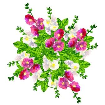 Bukiet różowo-fioletowych ślazów z liśćmi. ślaz biały. ręcznie rysowane akwarela ilustracja. odosobniony.
