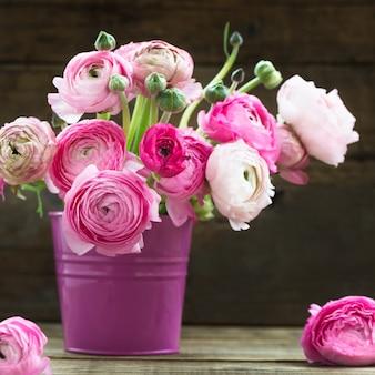 Bukiet różowy ranunculus jaskier kwitnie w wazie