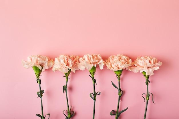 Bukiet różowych goździków koncepcja projektu świątecznego pozdrowienia z bukietem goździków na różowym stole b...