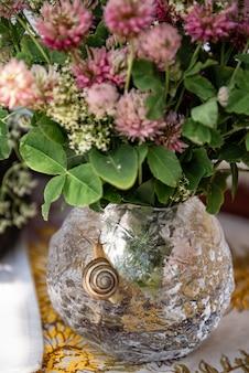 Bukiet różowych kwiatów koniczyny w okrągłym szklanym wazonie z małym ślicznym ślimakiem