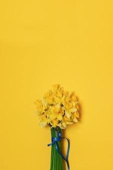 Bukiet świezi żółci daffodils w żeńskich rękach na tle z przestrzenią dla teksta