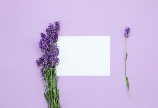 Bukiet świeżych kwiatów lawendy fioletowe kwiaty makieta pustej karty papieru na liliowym tle kartkę z życzeniami