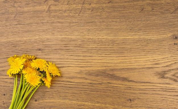 Bukiet świeżych żółtych mniszków leżących na drewnianym jasnym tle. zbliżenie mniszek lekarski. tekstura kwiatowy. wiosenny bukiet