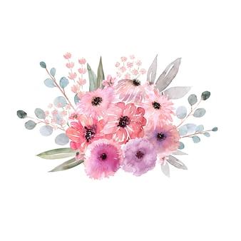 Bukiety akwarelowe o różnych kształtach. kwiaty, liście i pąki.