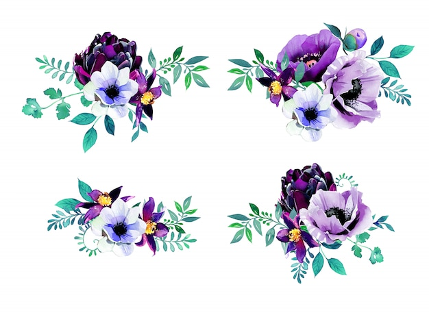 Bukiety kwiatów malowane akwarelą. wzory fioletowe kwiaty.