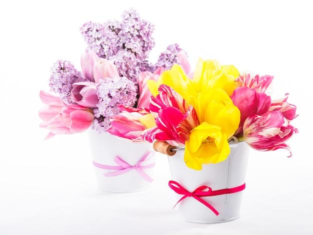 Bukiety z tulipanów i bzu na białym tle