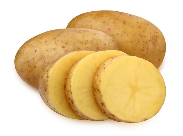 Bulwy ziemniaka na białym tle na białej powierzchni