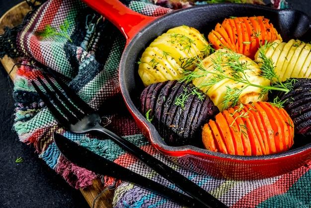 Buraki hasselback, marchew i ziemniaki