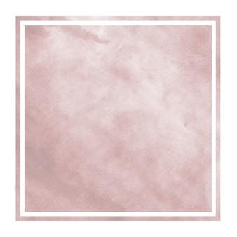 Burgundi ręka rysująca akwareli prostokątna ramowa tło tekstura z plamami
