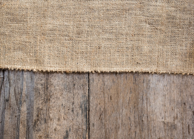Burlap i drewniany tekstury tło