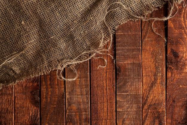 Burlap tekstura na drewnie