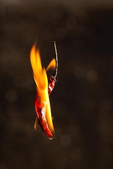 Burning chili peppe