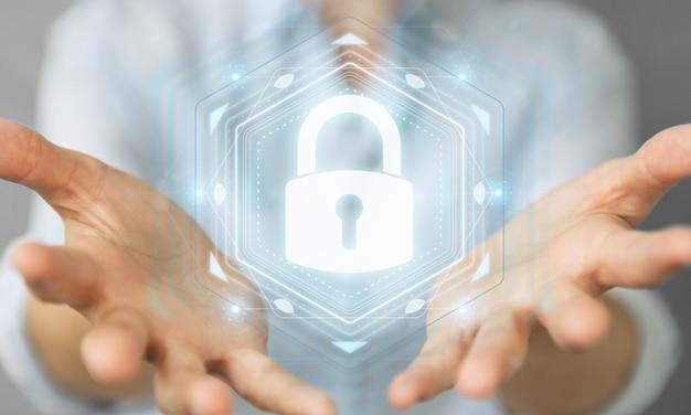 Businesswoman chroniąc swoje dane z interfejsem bezpieczeństwa