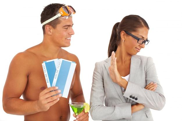 Businesswoman odrzucając podróży
