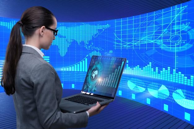 Businesswoman w koncepcji obrotu giełdowego